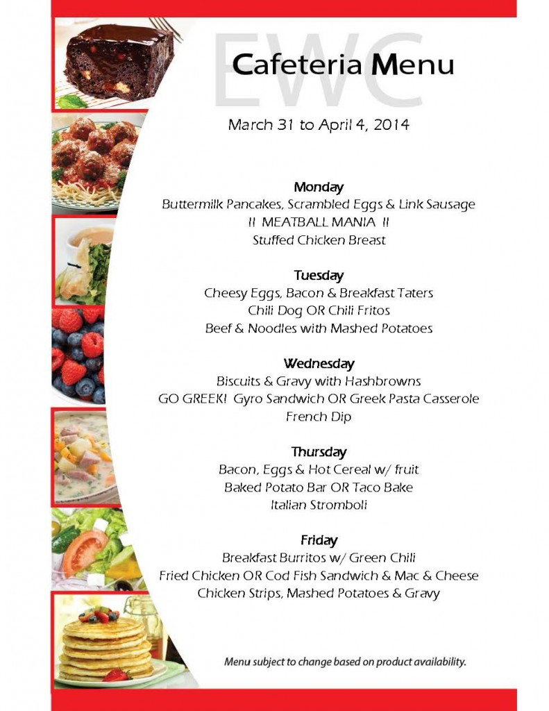 Cafeteria Menu March 31 to April 4