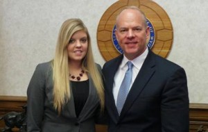 Eastern Wyoming College student Chelsea Olson with Wyoming Governor Matt Mead